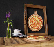 Hot pizza slice with melting cheese with frame concept close up photo Stock Photo
