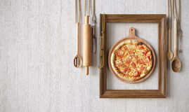 Hot pizza slice with melting cheese with frame concept close up photo Stock Images