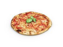 Hot pizza slice with melting cheese, isolated white. Royalty Free Stock Image