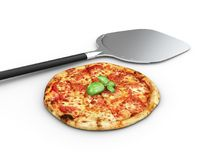 Hot pizza slice with melting cheese, isolated white. Royalty Free Stock Photo