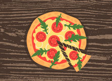 Hot pizza slice with melting cheese on a rustic wooden background. Vector illustration of margherita. Top view. Hot pizza slice with melting cheese on a rustic Stock Images