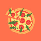 Hot pizza slice with melting cheese. Vector illustration of margherita Stock Photography