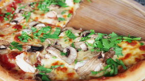 Hot pizza with steam stock footage
