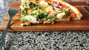 Hot pizza with steam stock video footage