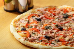 Hot pizza and tasty pizza Stock Images