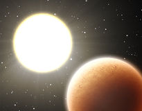 Hot planet near the star Stock Image