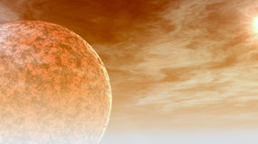 Hot Planet in Space. A red hot planet from space, close to sun Stock Photo