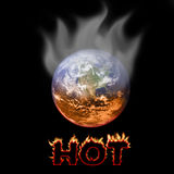 Hot planet to live on. Picture shows a concept of warming earth being boiled and heat (vapor) coming out from it vector illustration
