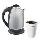 Hot plastic coffe cup and kettle. Isolated royalty free stock photo