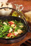 Hot plate Asian Food. Delicious and healthy seafood water spinach served in a hot plate Stock Photos