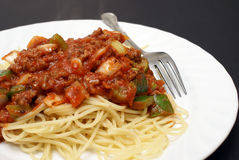 Hot Plate of Spaghetti Stock Photo