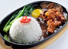 Hot plate spicy sizzling chinese style with rice Stock Image