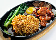 Hot Plate Spicy Sizzling Noodle Chinese Style Stock Photos