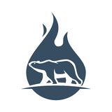 Hot polar bear logo. Two opposite things in an image. Polar bear and fire Royalty Free Stock Photo