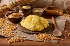 Hot polenta in cutting board Royalty Free Stock Photo