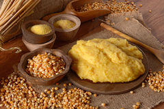Hot polenta in cutting board Stock Photo