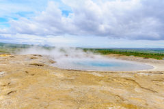 Hot pool of the Geysir geyser Royalty Free Stock Images