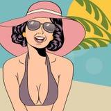 Hot pop art girl on a beach Stock Photography