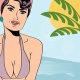 Hot pop art girl on a beach Stock Photos