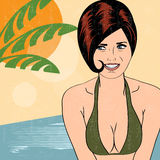 Hot pop art girl on a beach Royalty Free Stock Photos