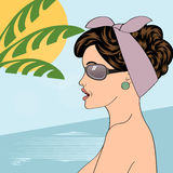 Hot pop art girl on a beach Royalty Free Stock Images