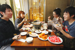 Hot pot. Asians like to eat hot pot in winter Stock Photography