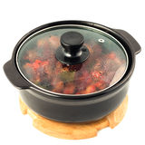 Hot pot. Beef and vegetables stewed in hot pot on white background stock photo