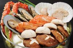 Hot pot. A wealth of seafood hot pot cooking Royalty Free Stock Photos