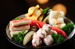 Hot pot assorted cold dishes Stock Photography