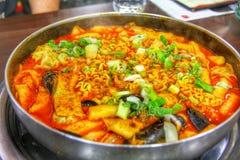 Hot pot of budae jjigae stock photos