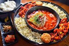 Hot pot combo. Noodle meat sausage soup combo hot pot royalty free stock images