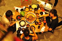 Hot pot. Eating hot pot in summer time is cool, China Royalty Free Stock Photography