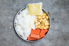Hot Pot Ingredients tremella, fish tofu and crab sticks for Suki Royalty Free Stock Photos