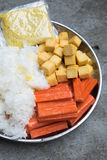 Hot Pot Ingredients tremella, fish tofu and crab sticks Stock Image