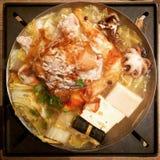 Hot Pot. Mixed seafood and pork boiling hot pot stock images