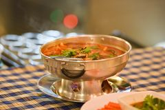 Hot pot spicy soup royalty free stock photo