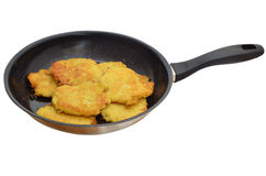Hot potato pancakes in a pan Royalty Free Stock Images