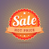 Hot price badge. Stock Images