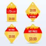 Hot Price bage set. Special offer sale tag discount symbol. Retail sticker sign price. Vector illustration Stock Photos