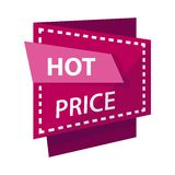 Hot price banner or sale discount promo advertising vector label Stock Photos