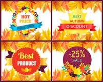 Hot Price Best Autumn Discount Vector Illustration. Hot price best autumn discount promotion with colorful labels decorated with golden yellow leaves. Vector Royalty Free Stock Photos