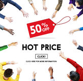 Hot Price Big Sale Deduction Advertisement Retail Concept. People Shopping Hot Price Big Sale Deduction Advertisement stock photo