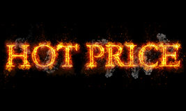 Hot price burning word written text in flames. On black background Stock Images