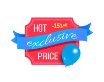 Hot Price Exclusive Best Discount Balloon Label. Hot price exclusive best 15 discount promo label design decorated by flying blue balloon, helium air balloon on stock illustration