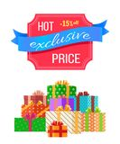 Hot Price Exclusive Sale Card Vector Illustration. With colorful gift boxes with cute ribbons and bows, promotion text on red sticker with blue ribbon Royalty Free Stock Photo