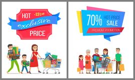 Hot Price Exclusive Sale Premium Promotion Card. Vector illustration with colorful advertising text, two cheerful families, wheelbarrows, purchases Stock Photography