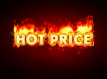 Hot price on fire Royalty Free Stock Image