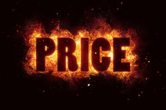 Hot Price and Hot Deal text on fire flames explosion burning Stock Photo