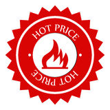 Hot price label. Illustration of a red round hot price label or icon isolated on white background Royalty Free Stock Photo