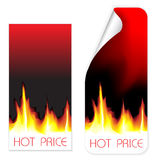 Hot price labels. Set of label and card with hot price Royalty Free Stock Photos